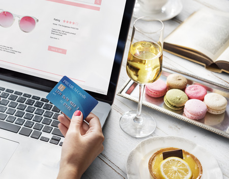 beverage display: Online Shopping Purchase Credit Champagne Dessert Concept