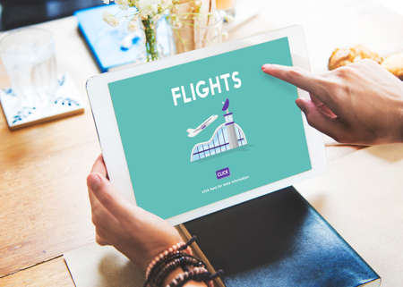 airplane take off: Flights Business Trip Travel Information Concept