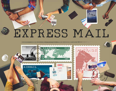 postal: Postal Postage Mail Package Stamp Concept Stock Photo