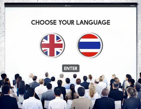 english ethnicity: Thai English Language Communication Global Concept Stock Photo