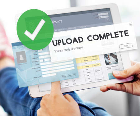 submit search: Upload Complete Data Uploading Submit Technology Concept