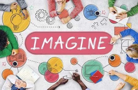 visualise: Imagine Imagination Expect Creative Icons Concept Stock Photo