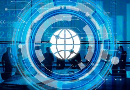 round collar: Digital Blue Hud Interface Global Concept