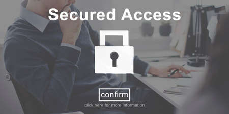 secured: Secured Access Protection Security Safe Concept