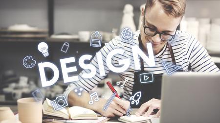 laptop outside: Creativity Design Process Graphics Concept Stock Photo