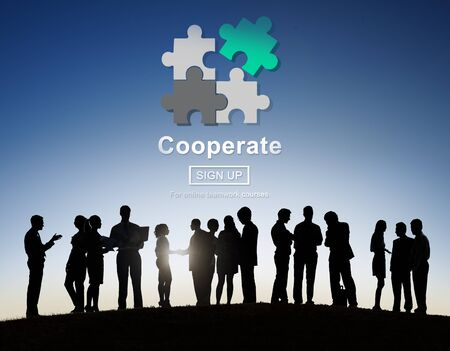 cooperate: Cooperate Collaboration Team Cog Technology Concept Stock Photo
