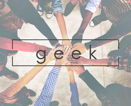 geeky: Geek Funny Geeky Nerd Peculiar Different Awkward Concept