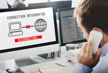 interrupted: Interrupted Inaccessible Unavailable Disconnected Error Concept Stock Photo