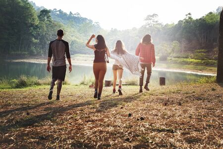 Friends Traveling Togetherness Hiking Mountain River Concept