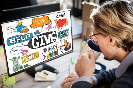 generosity: Give Aid Charity Support Welfare Concept Stock Photo