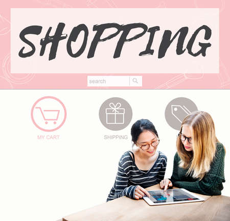 consumerism: Shopping Online Buy Sale Shopahoslics Concept Stock Photo