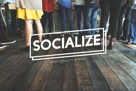 meetup: Socialize Connection Fellowship Network Unity Concept Stock Photo