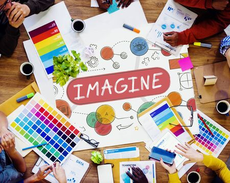 Imagine Imagination Expect Creative Icons Concept Stock Photo