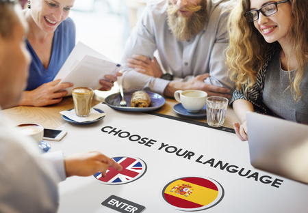 Language Dictionary English Spanish Concept Stock Photo