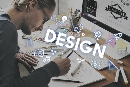 small business computer: Creativity Design Process Graphics Concept Stock Photo