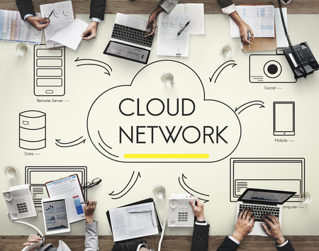 sever: Cloud Sever Transfer Sharing Network Concept Stock Photo