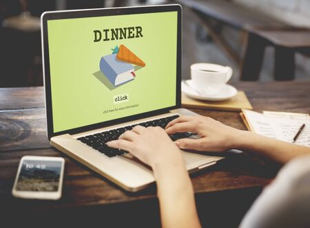 cook book: Dinner Cook Book Meal Preparation Concept Stock Photo