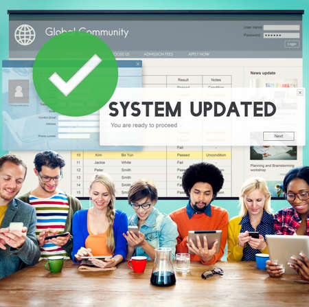 updated: System Updated Improvement Change New Version Concept