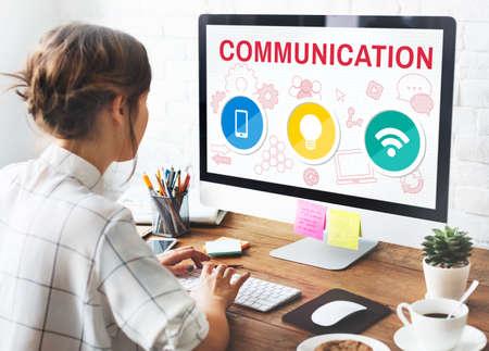 communication concept: Technology Communication Icons Symbols Concept
