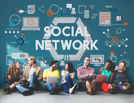 connect people: Social Network Connection Digital Communication Concept