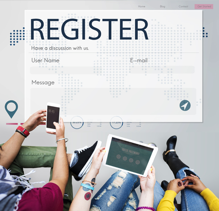keep in touch: Register Enquiry Online Web Page Concept