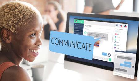 communicate: Communicate Communication Conversation Concept Stock Photo
