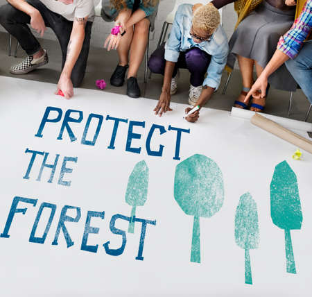 ecological problem: Protect the Forest Ecological Issue Concept Stock Photo