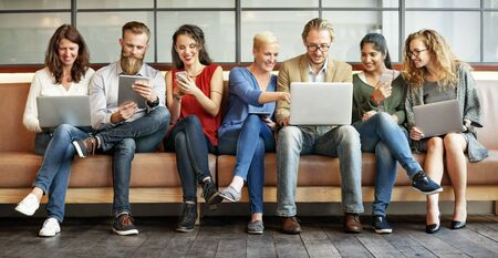 computer devices: Diversity People Connection Digital Devices Browsing Concept