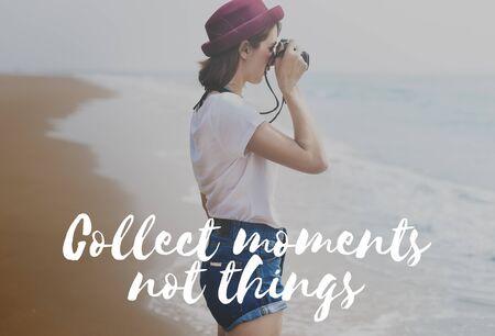 recoger: Recoger Momentos Felicidad Libertad Concepto del tiempo Foto de archivo