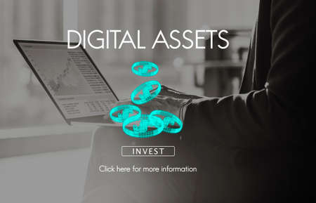 small business computer: Digital Assets Finance Money Business Concept Stock Photo