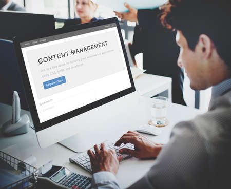 fulfilled: Content Management System Strategy Web Concept Stock Photo