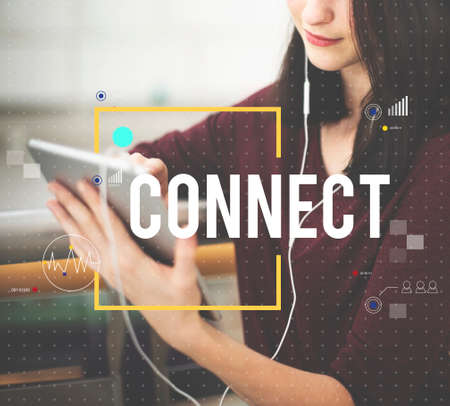 networked: Connect Communication Technology Internet Lifestyle Concept Stock Photo