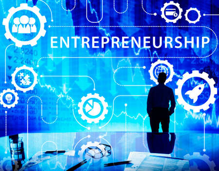 stock market launch: New Business Startup Graphics Concept