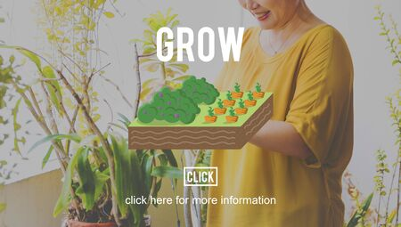 mature adult: Grow Gardening Farming Planting Land Concept Stock Photo