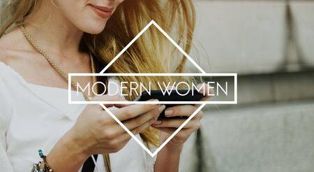 Modern Women Female Girl Contemporary Lady Concept Stock Photo
