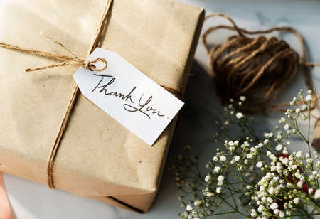 pack string: Craft Design Simplify Wrapping Gift Concept Stock Photo