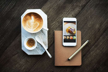 cafe latte: Coffee Shop Cafe Latte Cappuccino Technology Concept