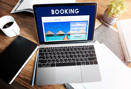 hotel booking: Hotel Booking Reservation Travel Reception Concept