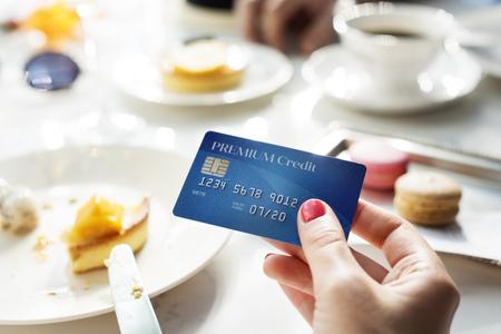 salarios: El pago con tarjeta Restaurante Concept Foto de archivo