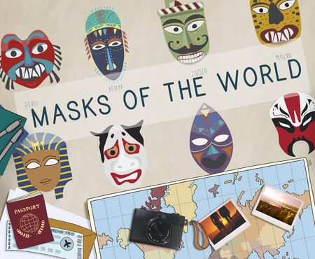 cultural: Cultural Traditional Masks Global Concept Stock Photo
