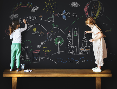 Creative Drawing Imagination Girl Blackboard Concept Stock Photo