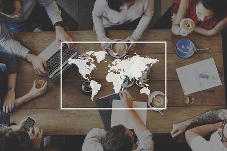 グローバル ビジネスの国際的な世界企業コンセプト 写真素材