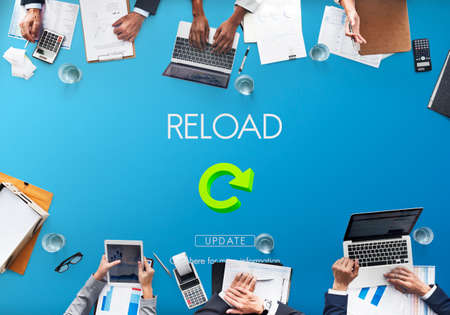 functionality: Reload Functionality Destruction Refresh Concept Stock Photo