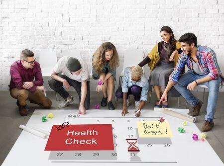 organize: Health Check Organize Schedule Planner Concept