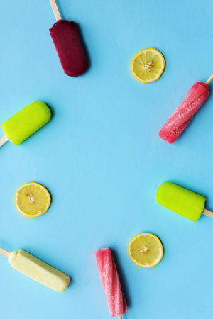 flavored: Popsicle Flavored Ice Frozen Dessert Sweeten Tasty Concept Stock Photo