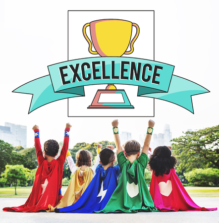 Excellence concept with children dresses as superheroes