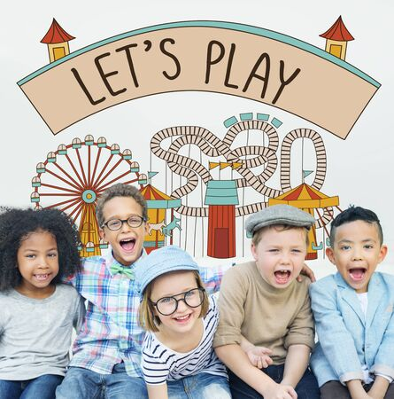 children play area: Play Activity Entertainment Happiness Leisure Concept Stock Photo