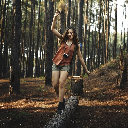 ourdoor: Camping Woman Fun Leisure Holiday Concept