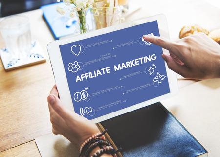 Affiliate marketing concept on digital tablet