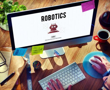 cybernetics: Robotics Automation Cybernetics Science Machine Concept Stock Photo